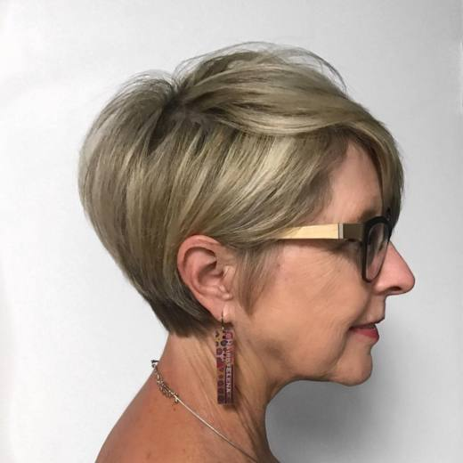Very Short Blonde Pixie Haircut For Over 50 Women