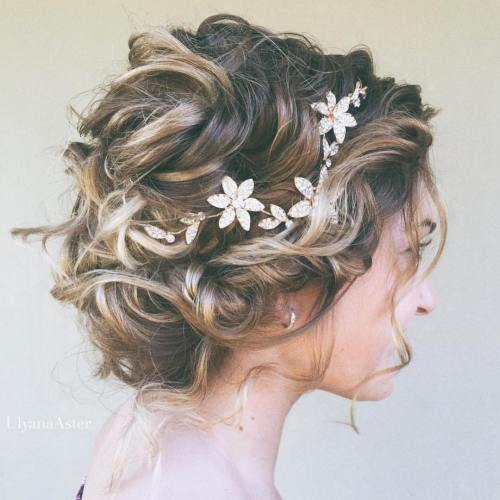 Messy Curly Bridal Updo