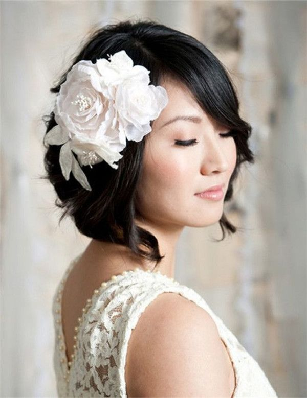 Wedding Hairstyles for Short Hair with flower