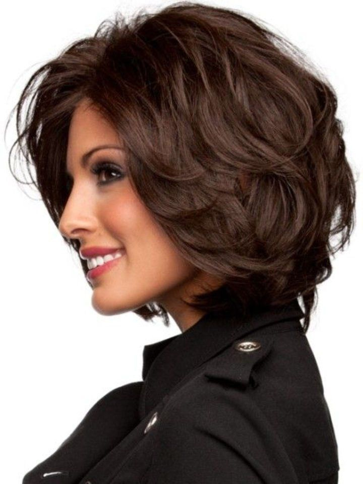 Medium Length Wavy Layered Dark Bob Haircut
