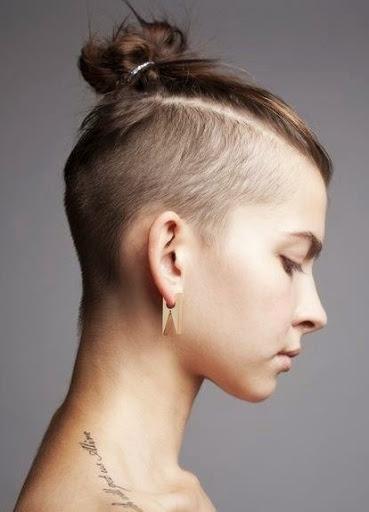 Undercut Haircut with Mini Bun
