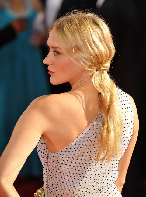 Pulled Back Ponytail with Beachy Waves