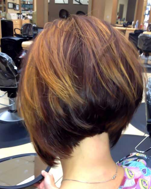Stacked A-Line Bob with Highlights