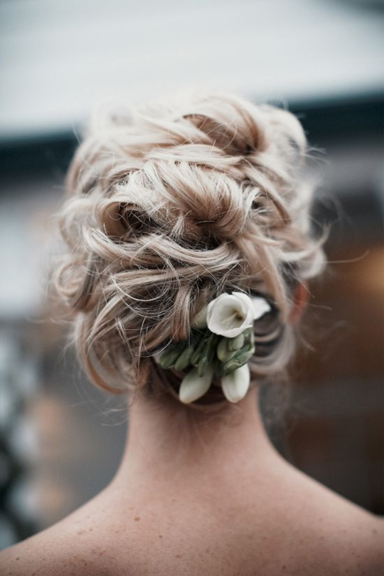 Messy Curly Wedding Updo