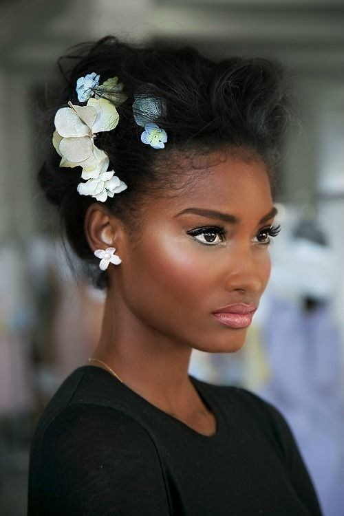 Black Updo with Flowers