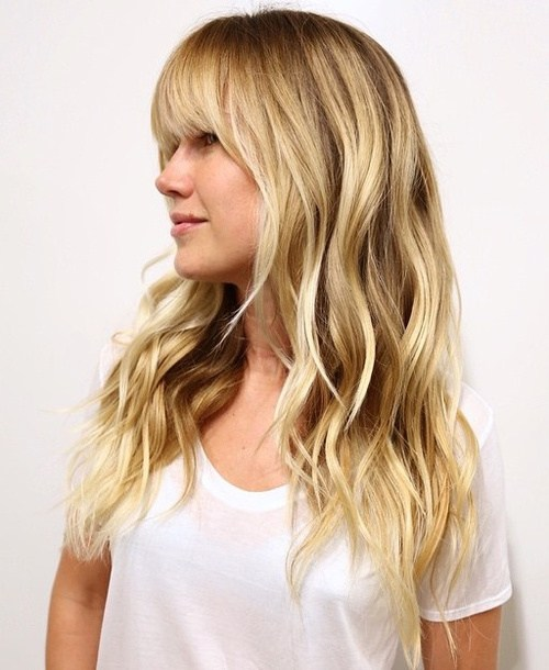 Layered Wavy Blonde Hair with Bangs