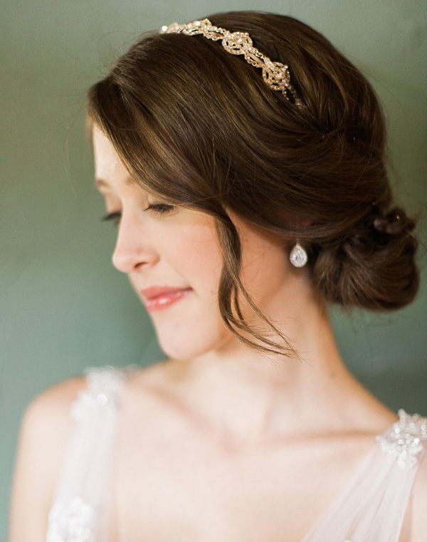 Low Bun Wedding Hairstyles with Headband