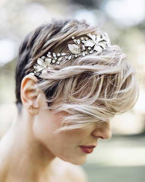 Messy Bridal Pixie Cut with Headband