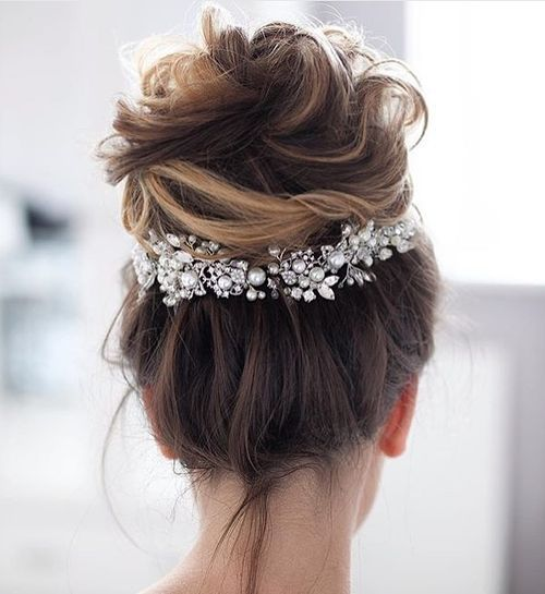 Messy Updo with High Bun