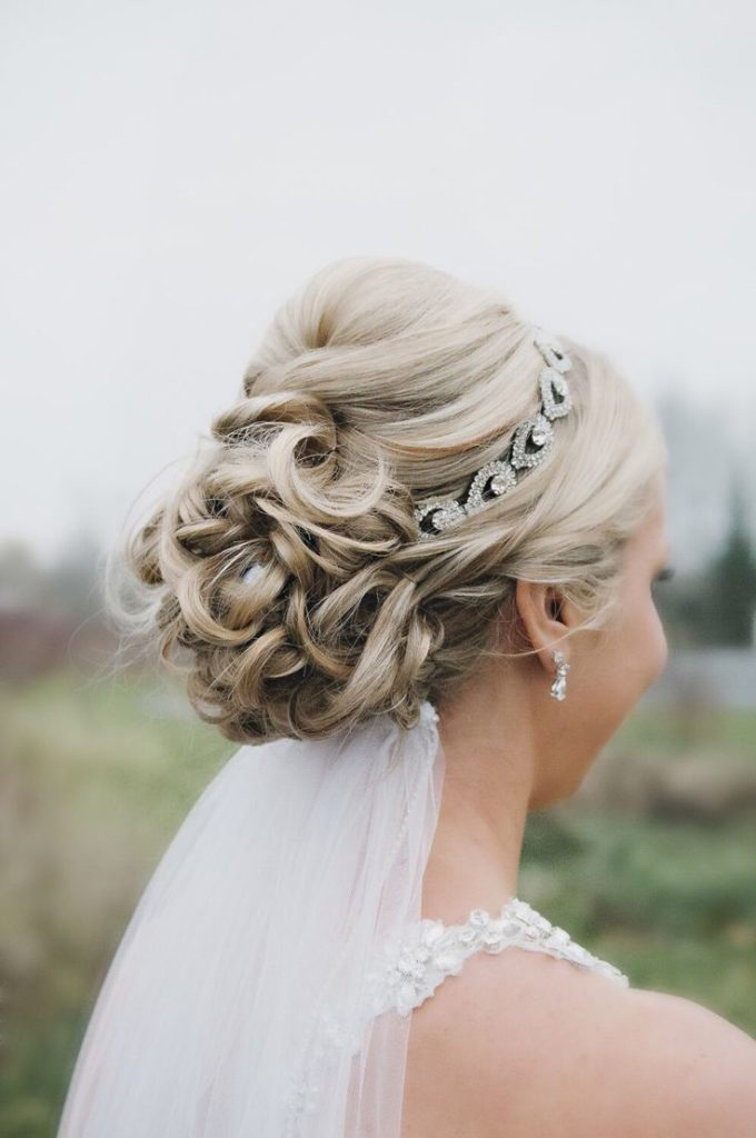 Updo with Silver Rhinestone Headband