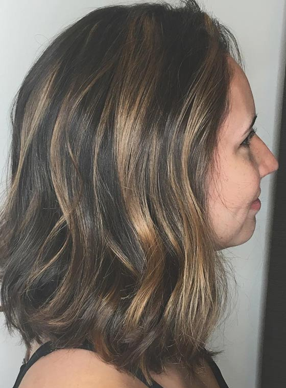 Medium Hair with Blonde Highlights
