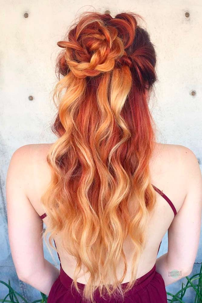 Ombre Wavy Hair with Flower Bun