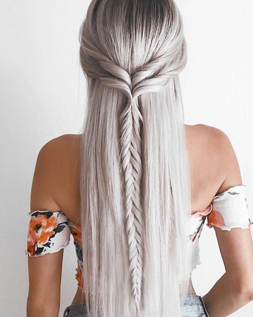 Platinum Blonde Braided Long Hair