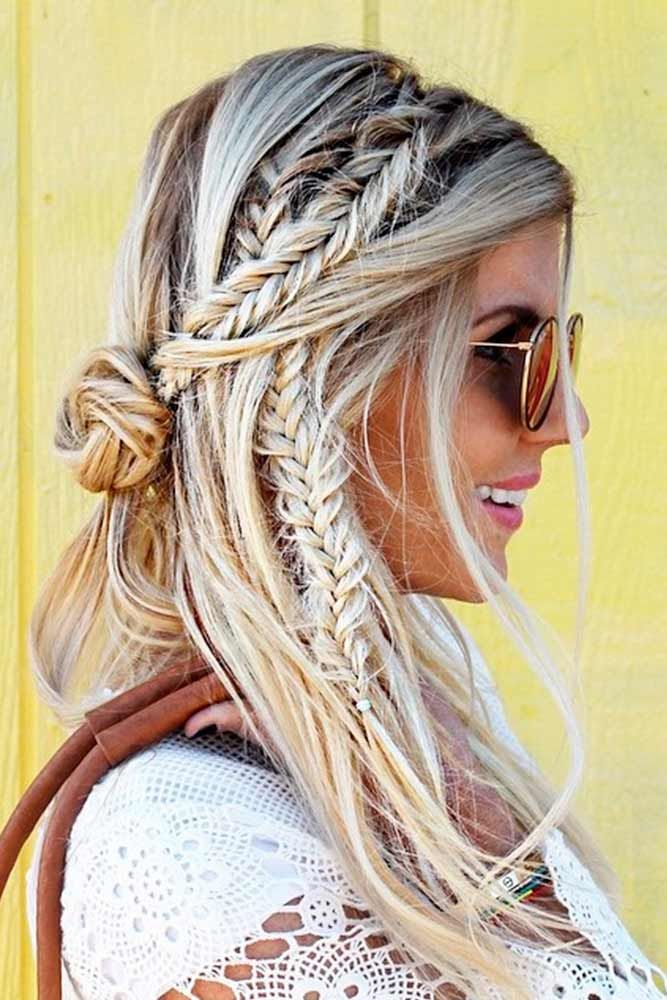 Messy Boho Hairstyle with Fishtail Braids