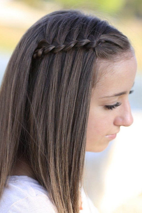 One Side Braid with Long Straight Hair