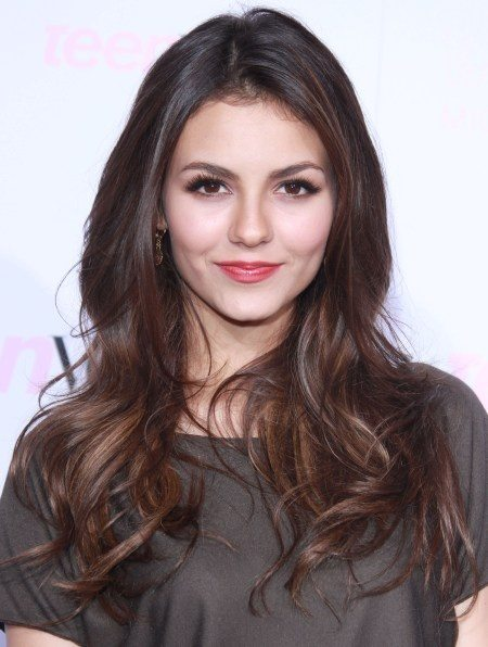 Center Parted Long Brunette Wavy Hairstyle
