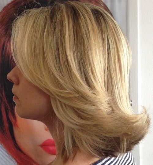Flipped Back Medium Straight Hairstyle