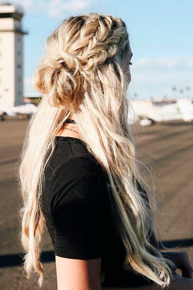 Long Blonde Hair with Messy Knot