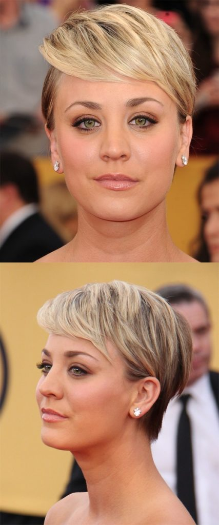 Short Blonde Hairstyle with Side Swept Bangs