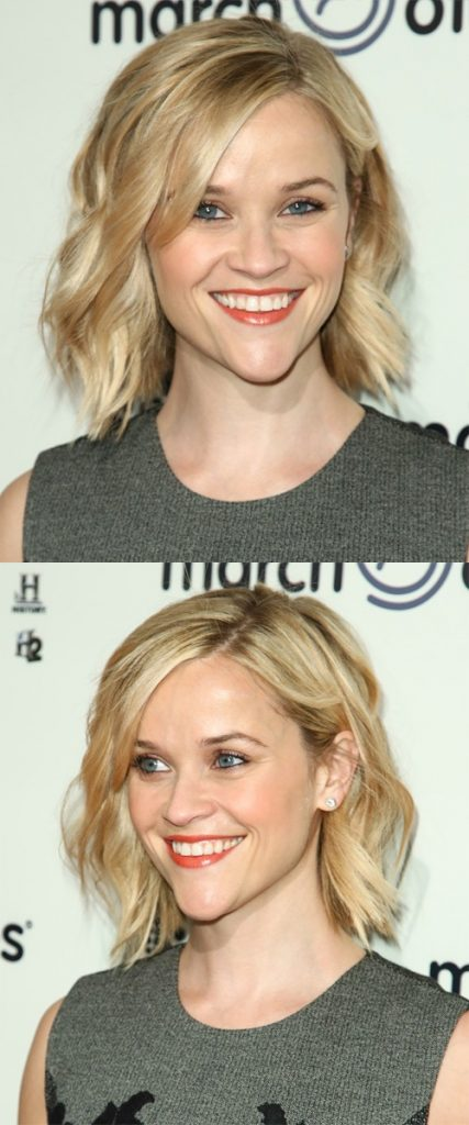 Side Swept Blonde Wavy Short Hair