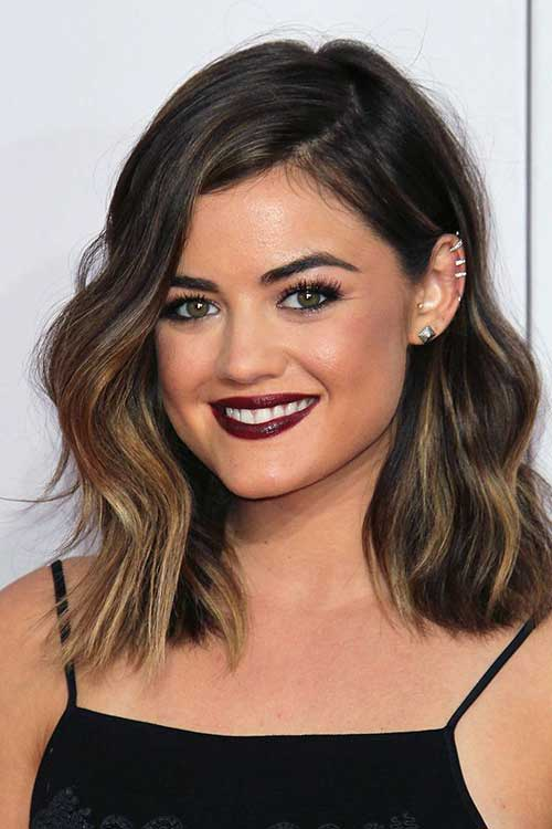 Side Swept Brunette Wavy Bob