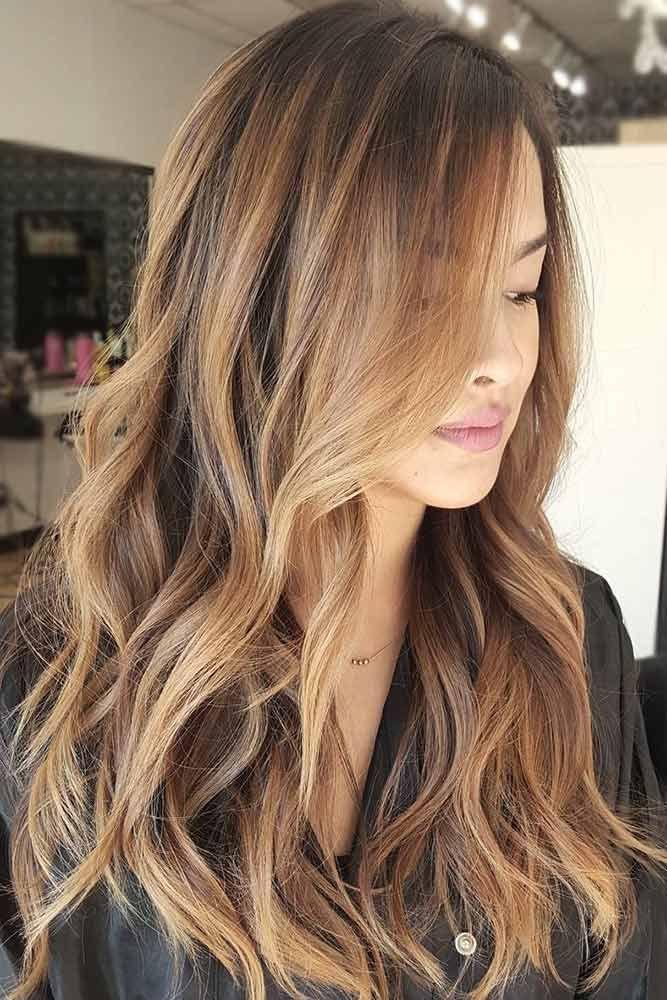 Sun Kissed Brown Balayage Wavy Haircut
