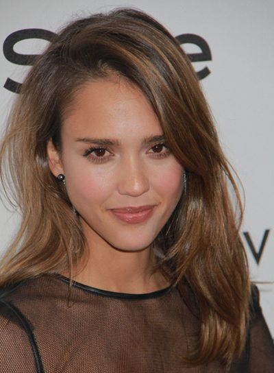 Tousled Medium Layered Brunette Hair with Highlights