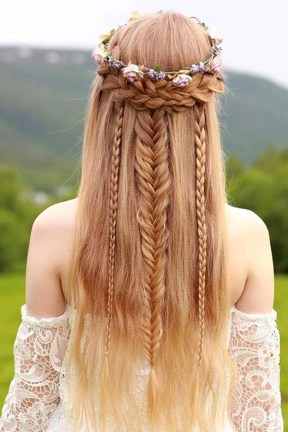 Bohemian Wedding Hair with Floral Tiara