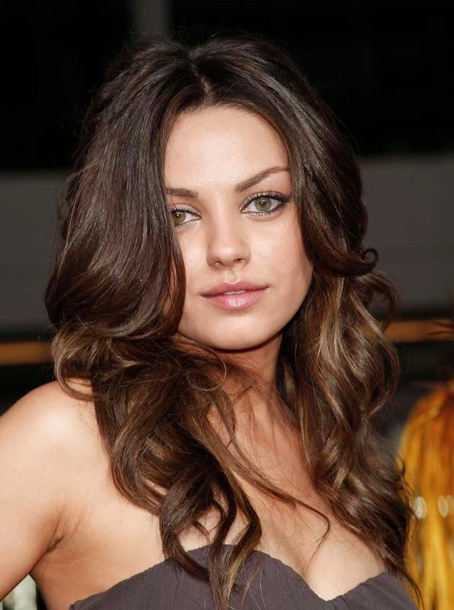 Center Parted Long Brunette Hair with Curls