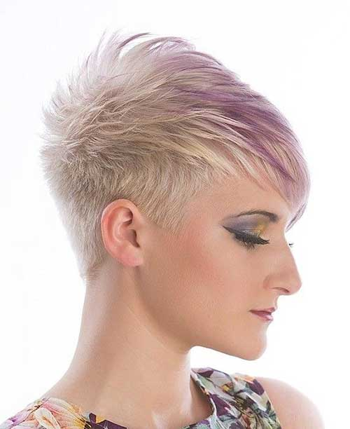 Short Funky Haircut with Purple Highlights
