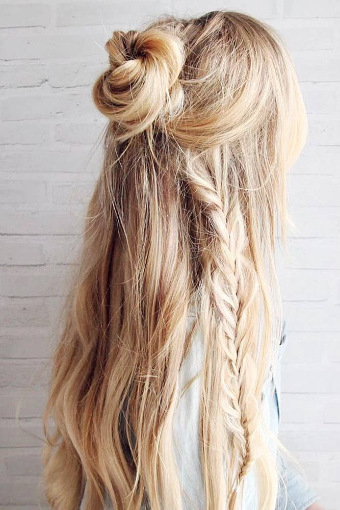 Messy Half Up Bun with Braid