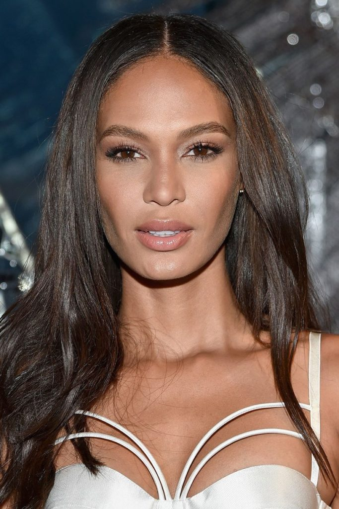 Dark Brunette Long Glossy Hairstyle