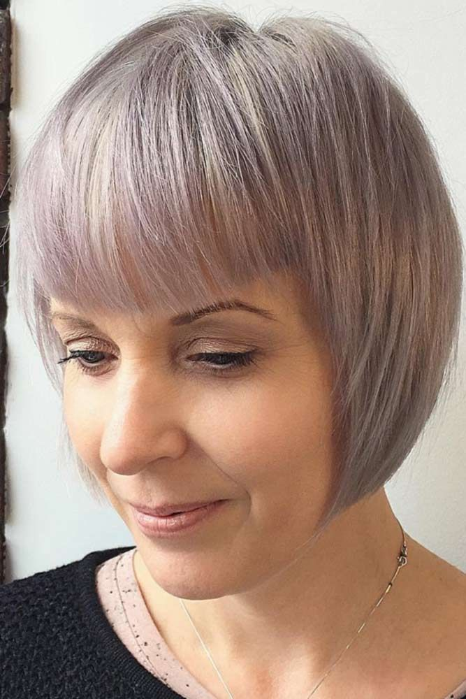 Pastel Blonde Bob with Bangs