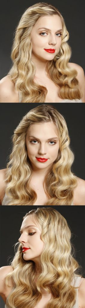 Side Parted Long Blonde Wavy Hair