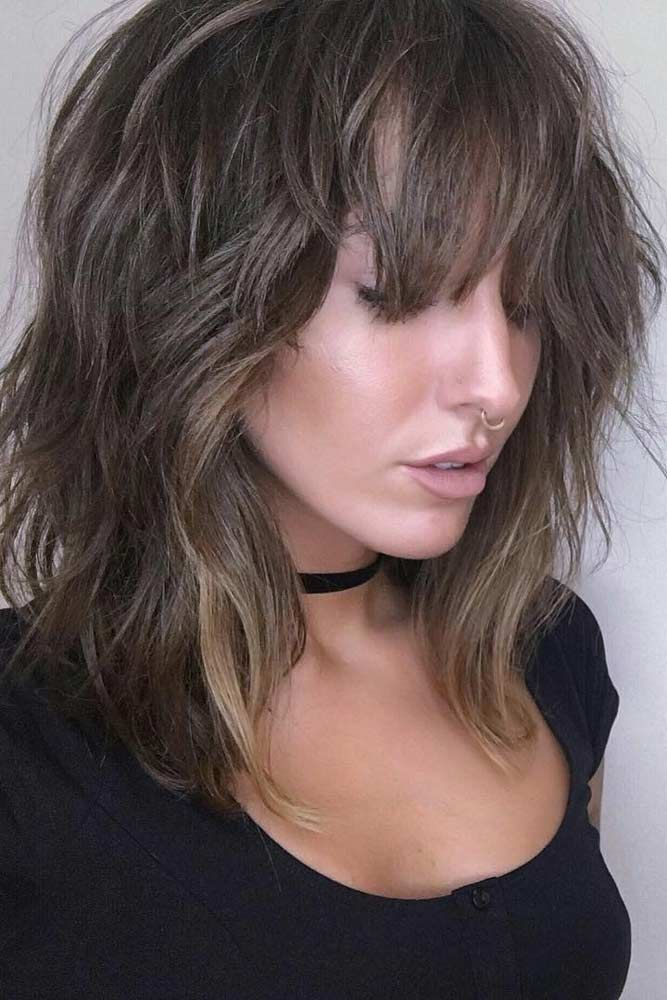 Messy Layered Hair with Wispy Bangs