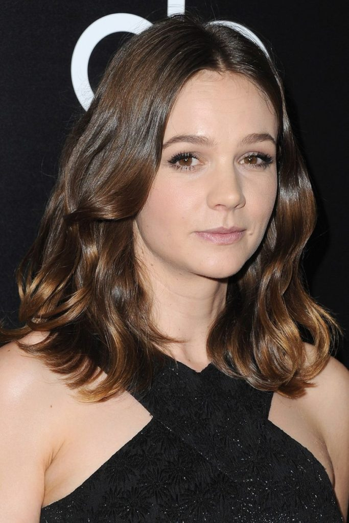 Middle Parted Caramel Brunette Hairstyle