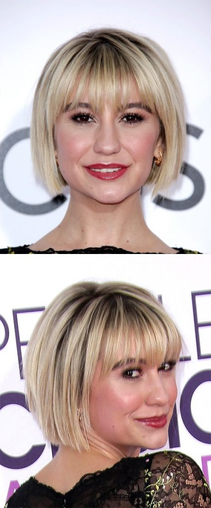 Short Straight Blonde Bob with Razor Cut Bangs