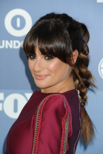 Plaited Ponytail Hairstyle with Bangs for Brunette Hair