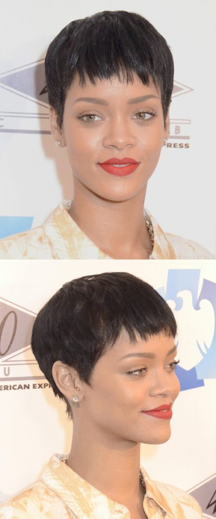 Straight Pixie Haircut with Layered Bangs