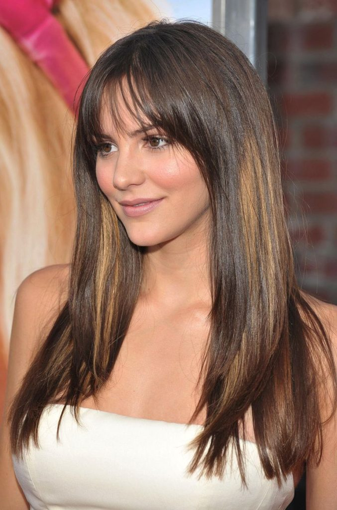 Brunette Long Straight Hair with Bangs