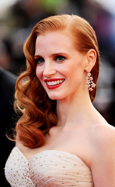 Jessica Chastain Orange Red Hair With Blonde Highlights