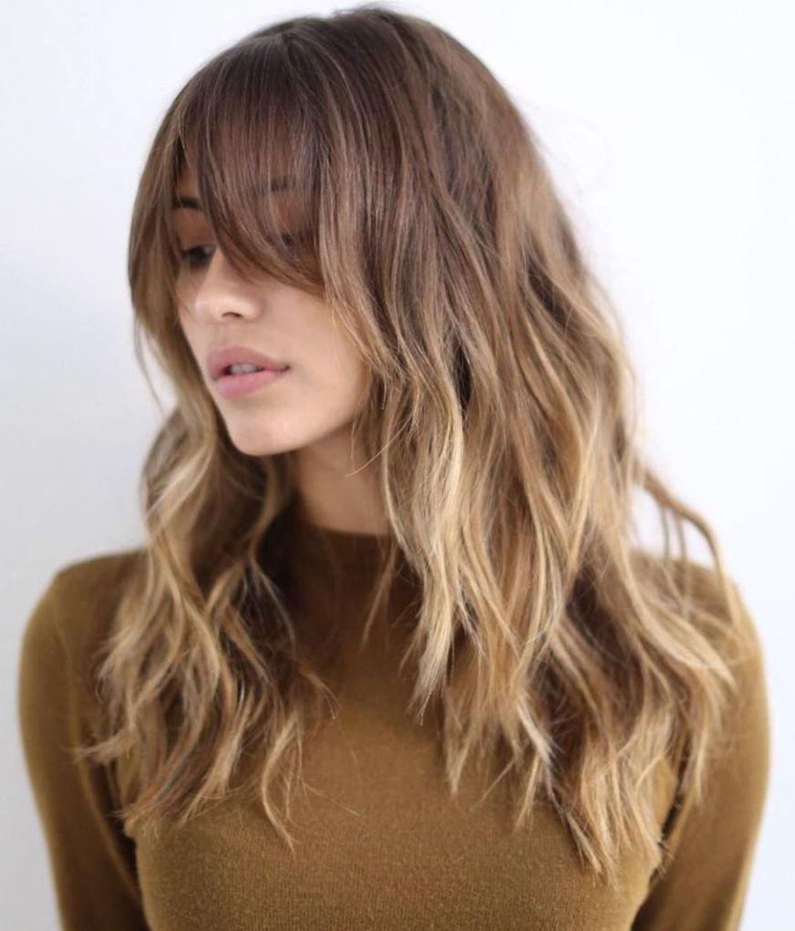 Medium Bangs Brown Hair and Round Face