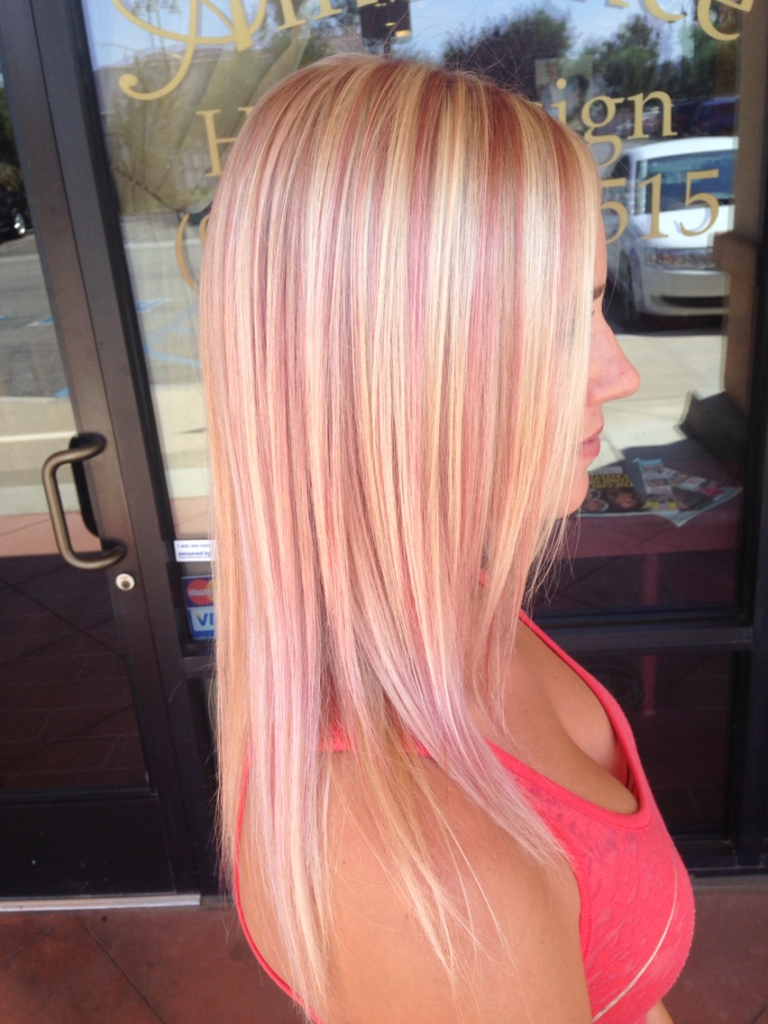 Brown hair with blonde and pink highlights brown hairs pink highlights on medium blonde hair pmusecretfo Choice Image