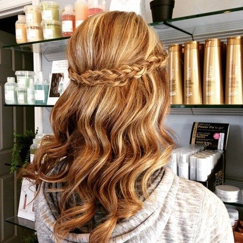 Half Up Half Down Wavy Hairstyle with a Braid