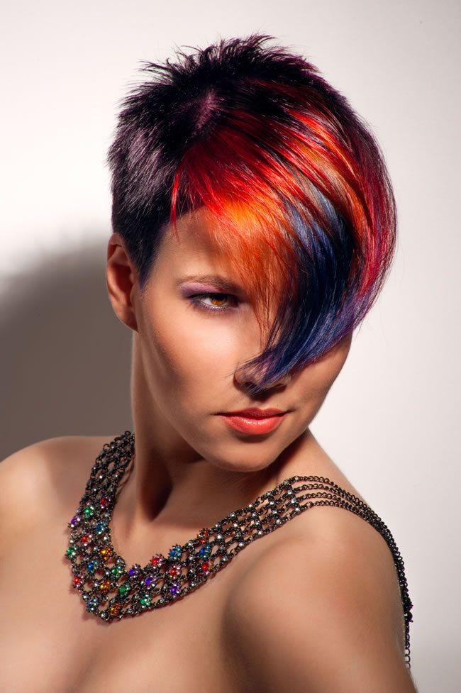Short Hair with Rainbow Fringe