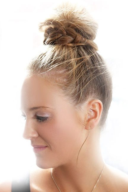 Top Knot with Twisted Braid