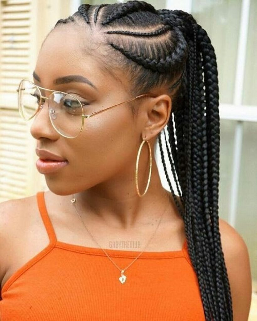 Cornrows with Braided Ponytail