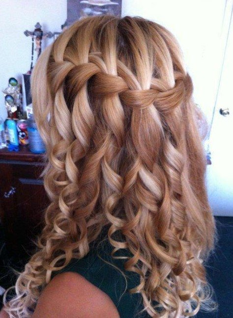 Caramel Balayage Curly Waterfall Braid
