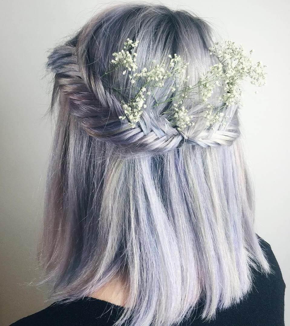 Pastel Purple Braided Short Hair