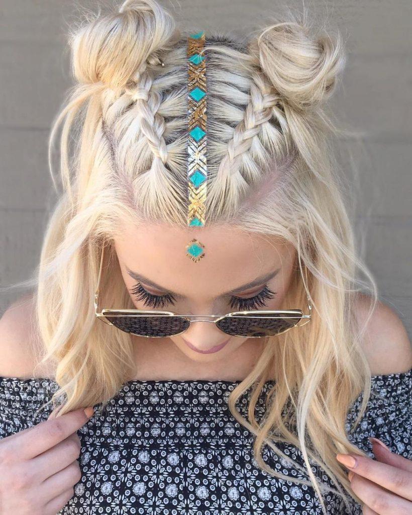 Double Bun Braided Hairstyle